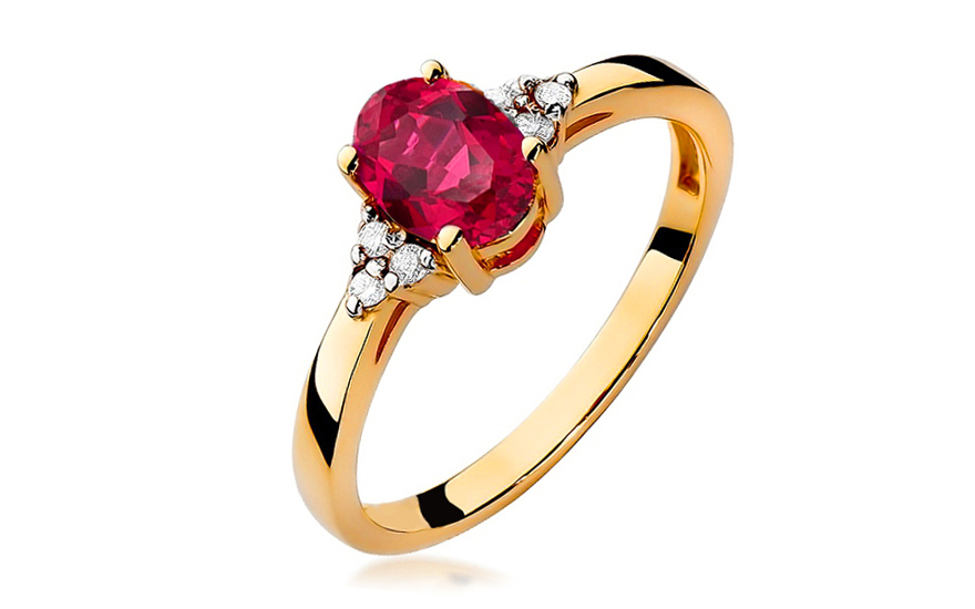 bd3b0d1cb43 Zlatý prsteň s rubínom a diamantmi Morgana