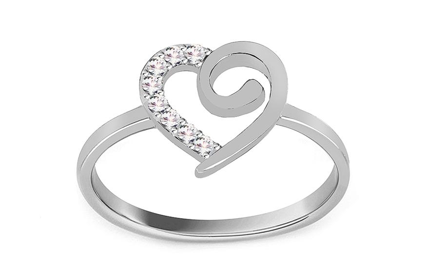 b492381f1 Zlatý prsteň Srdiečko so zirkónmi z bieleho zlata, pre ženy (IZ7909A ...