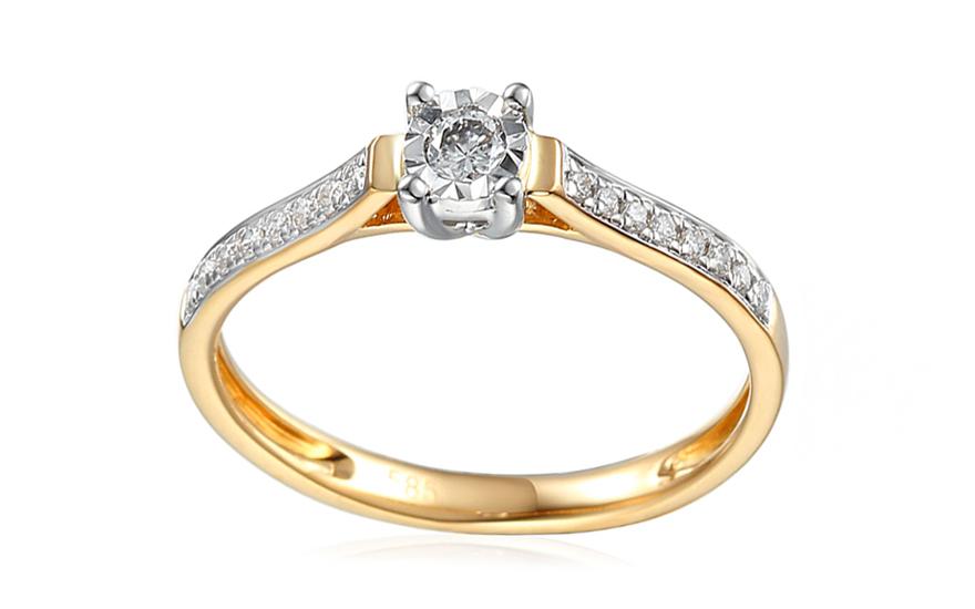 e4806ca0b Zlatý zásnubný prsteň s diamantmi Fannie, pre ženy (IZBR037) | iZlato.sk
