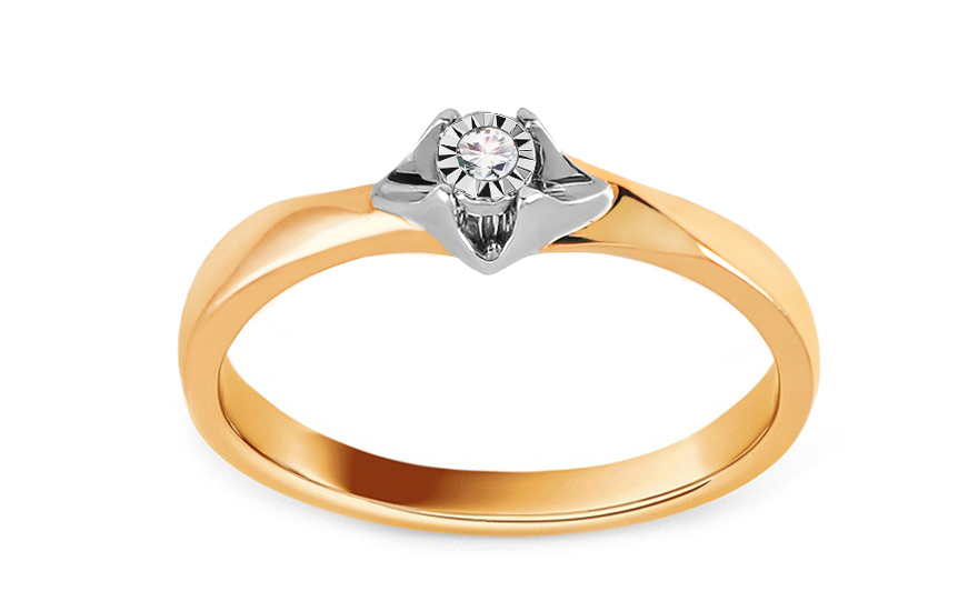 805481266 Zlatý zásnubný prsteň s diamantom 0.020 ct Niobe, pre ženy (KU849 ...