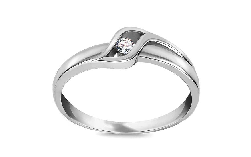 Zlatý zásnubný prsteň s diamantom Coralia white 9a1fc466283