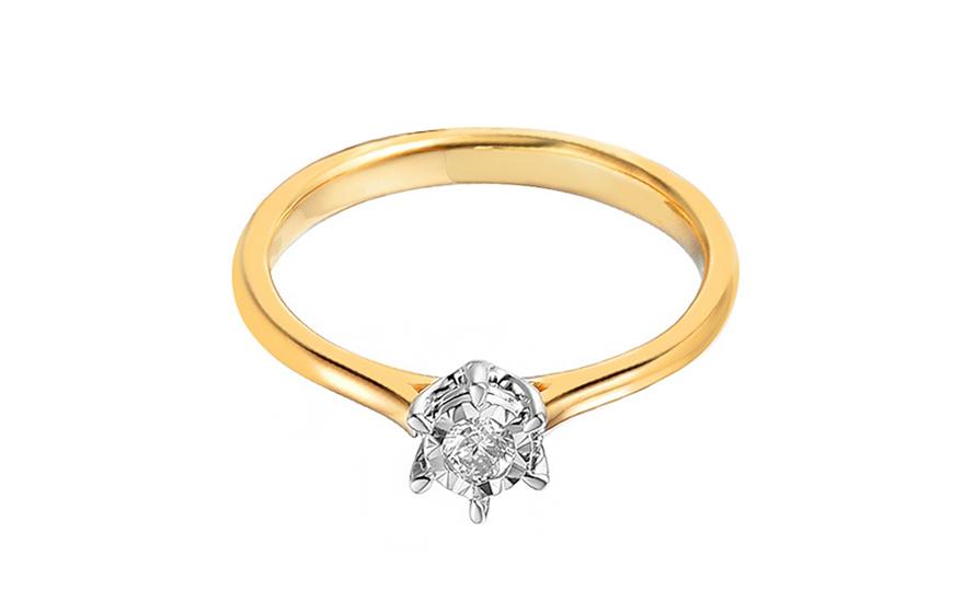 4681eb628 Zlatý zásnubný prsteň s diamantom Nairi, pre ženy (IZBR044) | iZlato.sk
