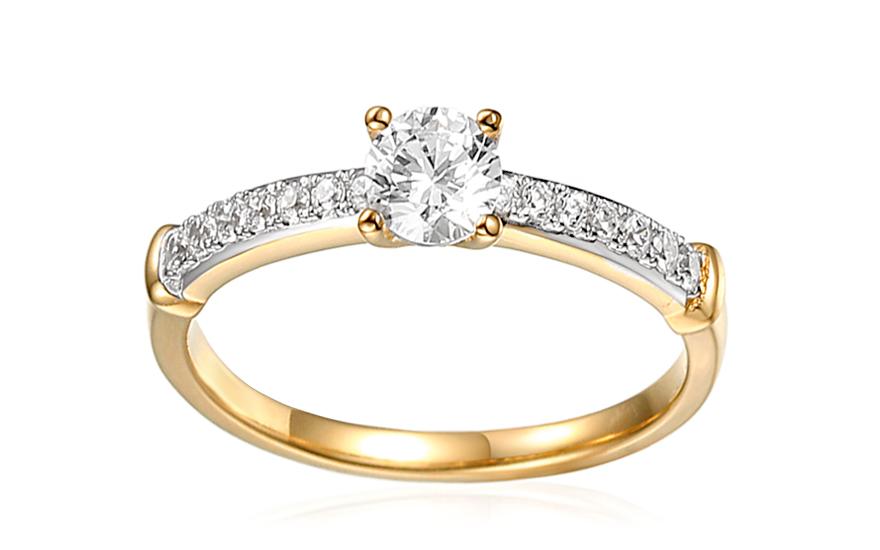 Zlatý zásnubný prsteň so zirkónmi Avra b1b92eeeac6