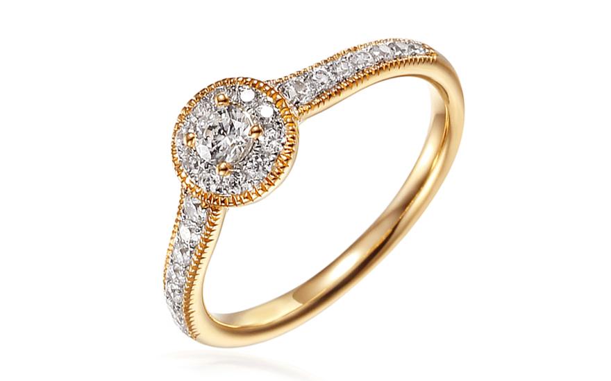 Zlatý zásnubný prsteň so zirkónmi Luvenia 0fca44e2dd6