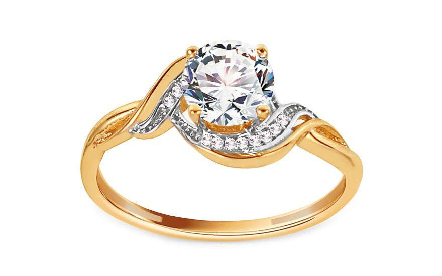 Zlatý zásnubný prsteň so zirkónmi Meghan cfe961b2c9b