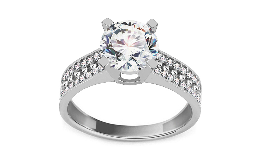 Zlatý zásnubný prsteň so zirkónmi Reece white 57a2e227bb5
