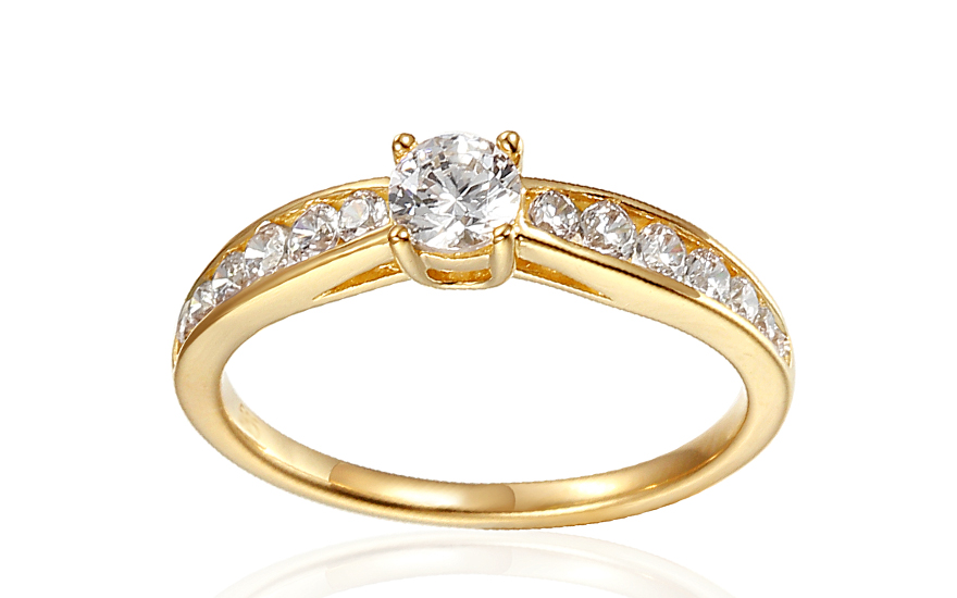 Zlatý zásnubný prsteň so zirkónmi Theoni d78508495b0