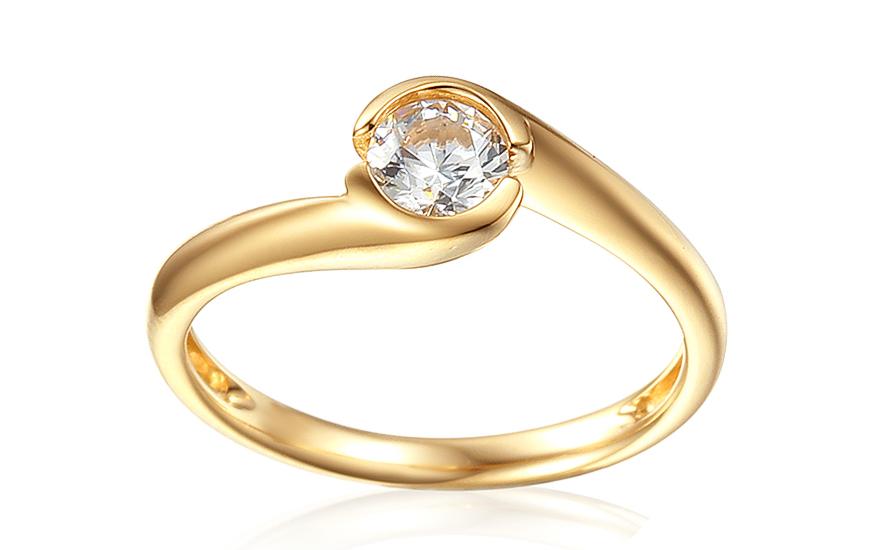 Zlatý zásnubný prsteň so zirkónom Mariyah 4a26a91e5cb