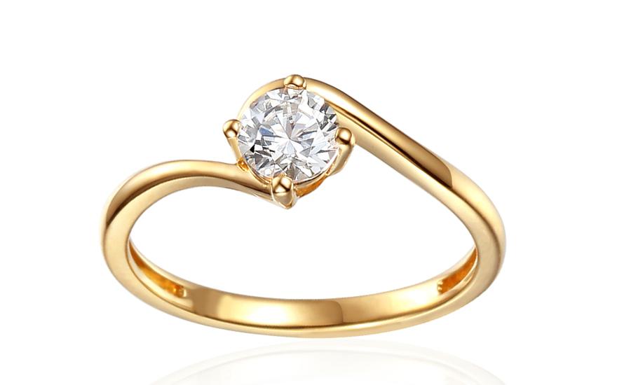 Zlatý zásnubný prsteň so zirkónom Priscilla 5cd2afcc9ed